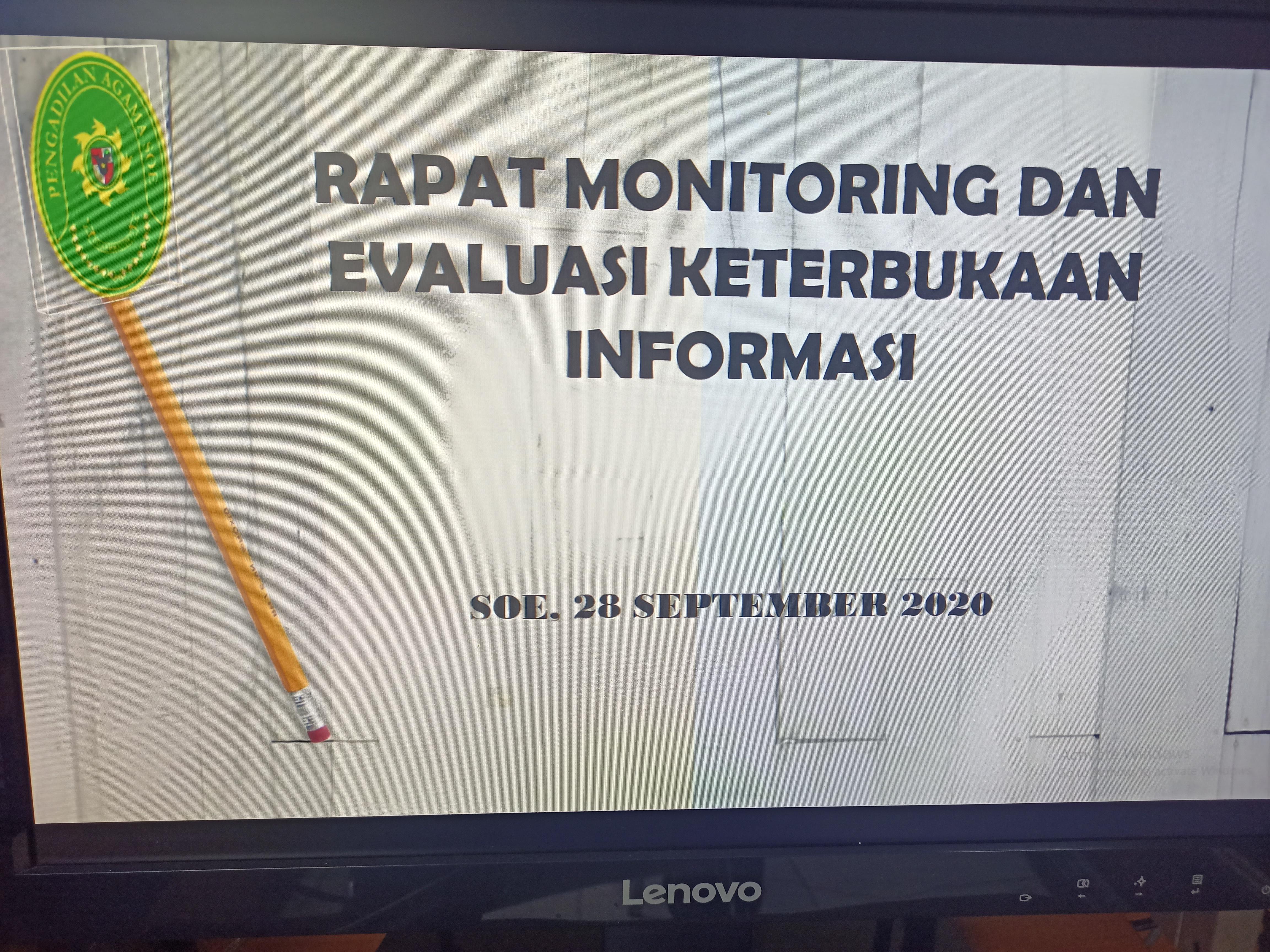 Rapat Monitoring dan Evaluasi Marathon di Akhir Bulan September 2020